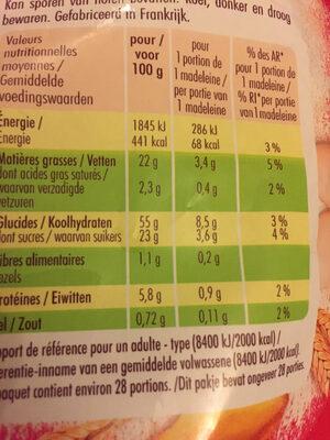 Petites madeleines - Informations nutritionnelles - fr