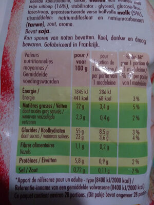 Petites madeleines - Informations nutritionnelles - fr
