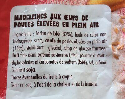 Petite Madeleines - Ingrédients - fr