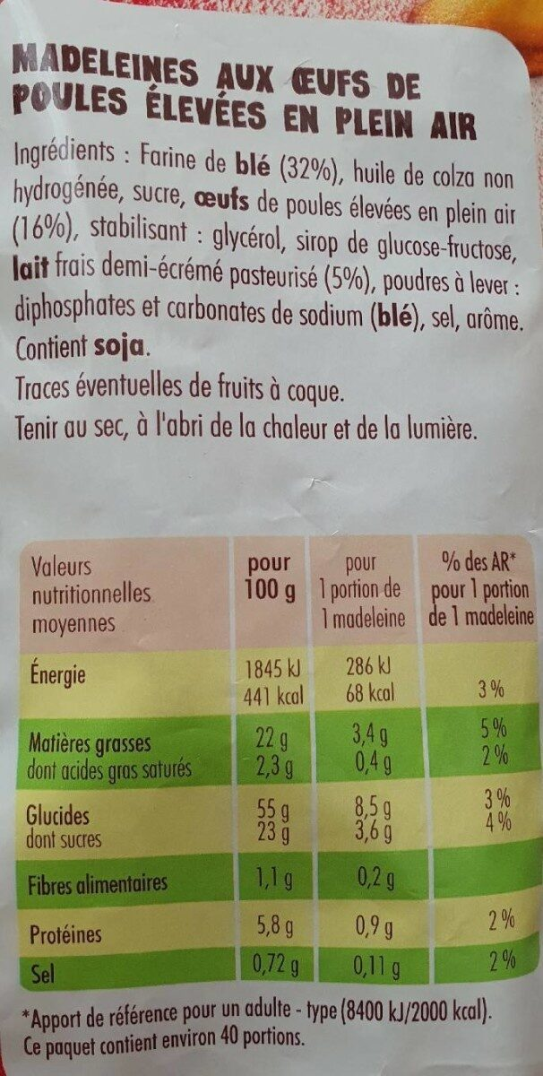 Petite Madeleines - Informations nutritionnelles - fr