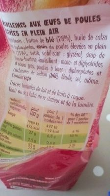 Madeleines Nature - Ingrédients - fr