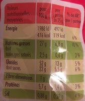 Madeleines Nature - Informations nutritionnelles - fr