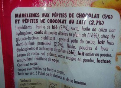 Petites Madeleine pépites chocolat - Ingrédients