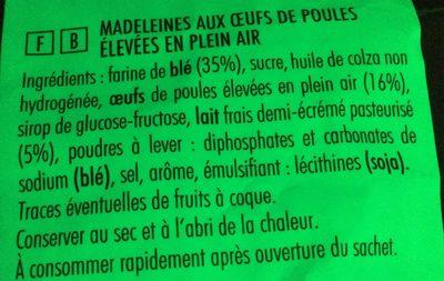 Petites madeleines - Ingredients - fr