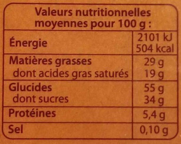 Sablés pépites de caramel au beurre salé d'Isigny AOP - Informations nutritionnelles - fr