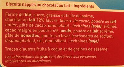 Barres nappées chocolat au lait - Ingrediënten - fr