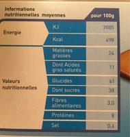 Barres nappées chocolat au lait - Voedingswaarden - fr