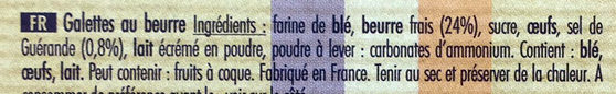 9 Grandes Galettes au beurre frais et sel de Guérande - Ingrédients - fr