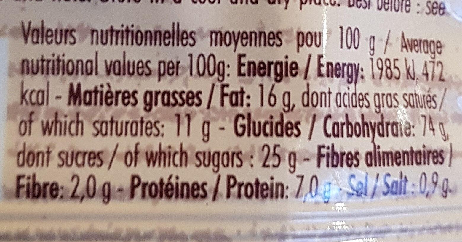 Galette - Voedingswaarden - fr