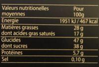 Fondants à la Cuillère Chocolat - Nutrition facts