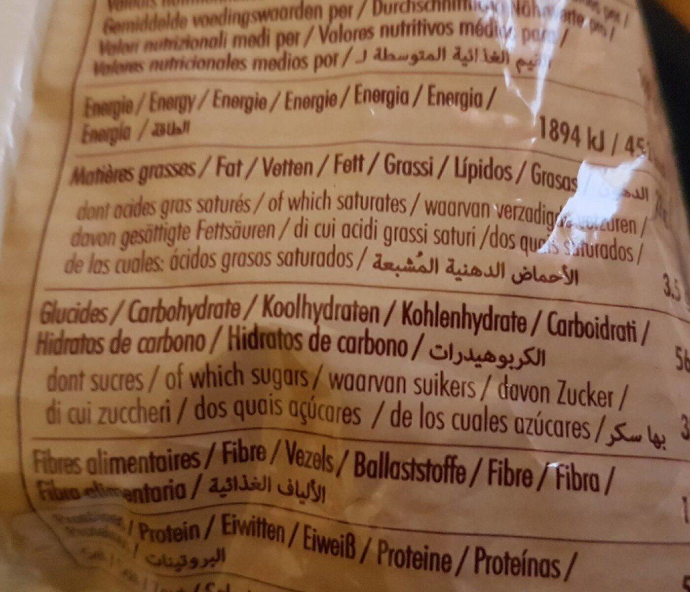 Mini madeleines - Informação nutricional - fr