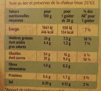 DOONUTS NAPPE CHOCOLAT - Voedingswaarden - fr