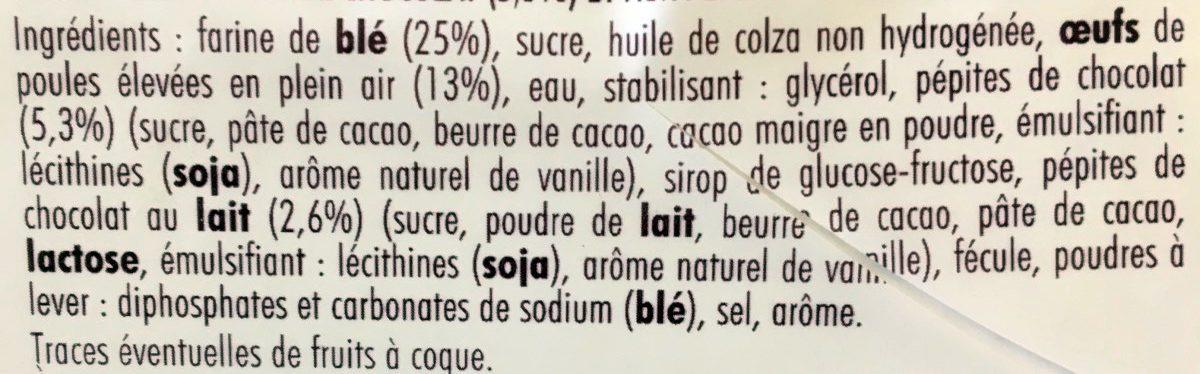 Gâteau Moelleux Pépites de Chocolat - Ingredients