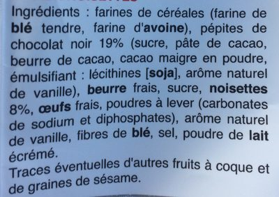 Petits cookies chocolat et noisettes - Ingrediënten