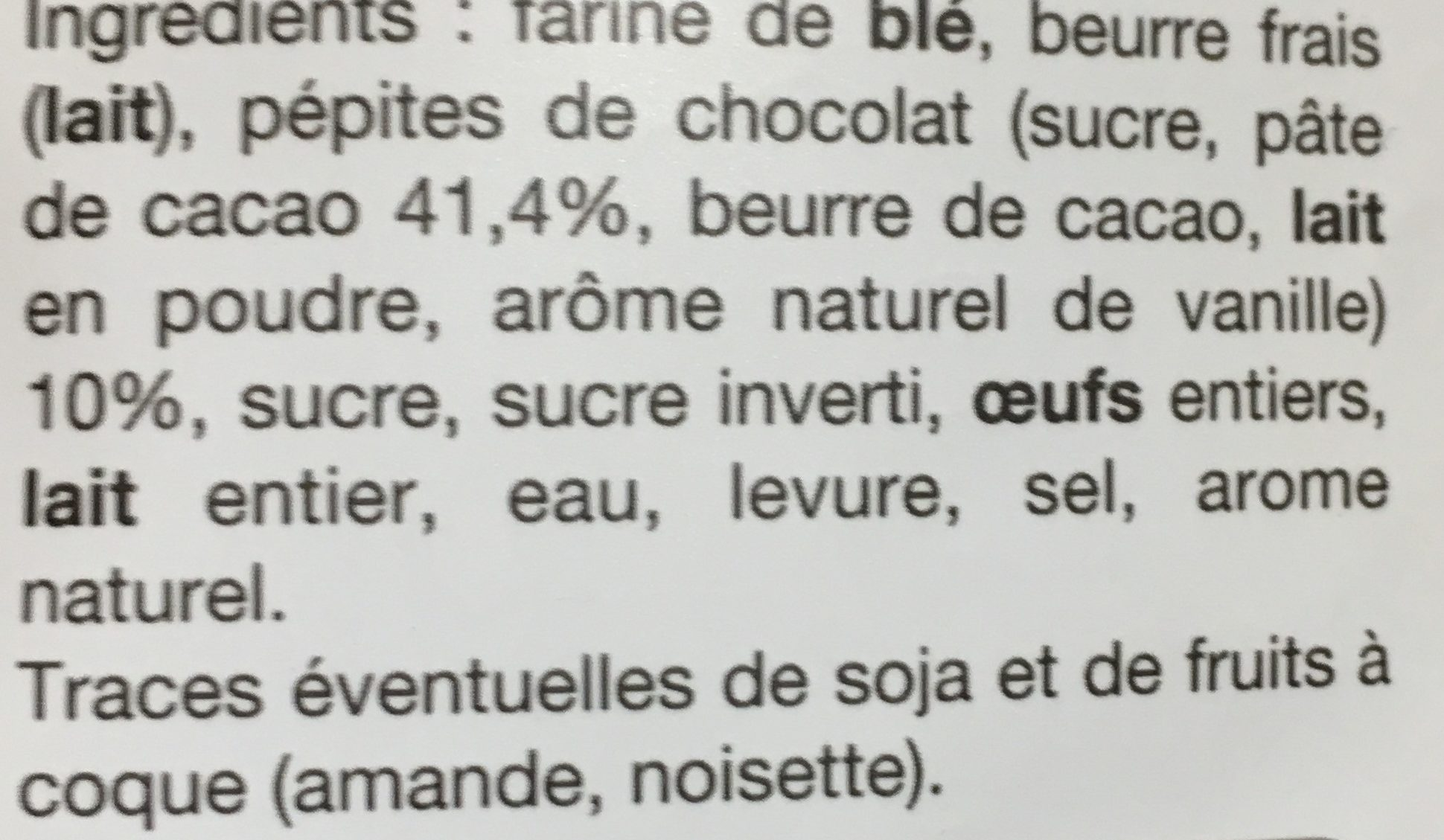 Gaufres aux Pépites de Chocolat - Ingrediënten - fr