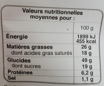 Gaufres aux Pépites de Chocolat - Voedingswaarden - fr
