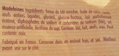 Mini Madeleines - Ingrédients - fr