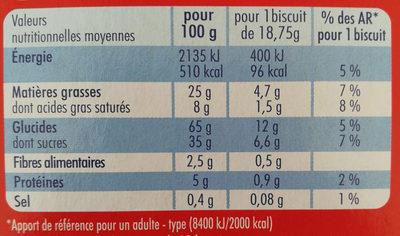 Crousty Buns Cœur Chocolat - Informations nutritionnelles