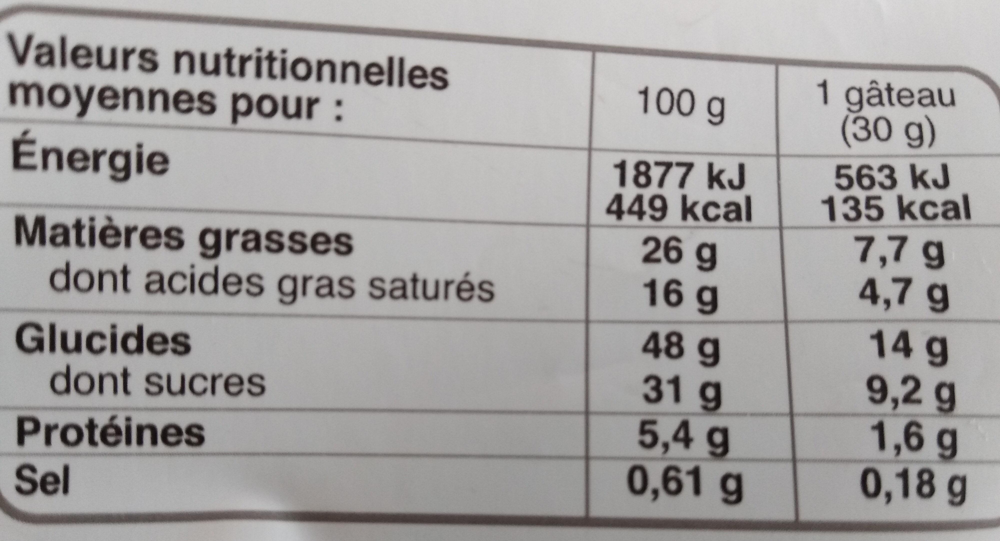 le petit quatre-quarts chocolat noir - Voedingswaarden - fr