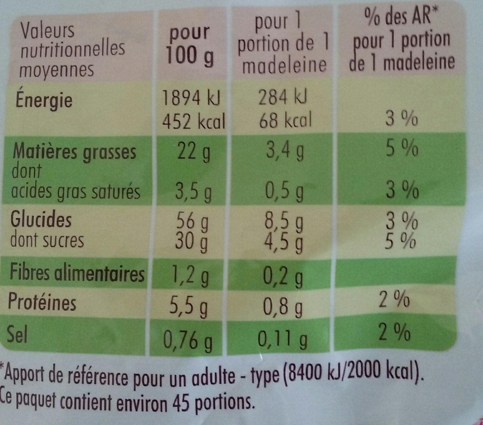 Petites Madeleines Pépites Chocolat - Voedingswaarden - fr
