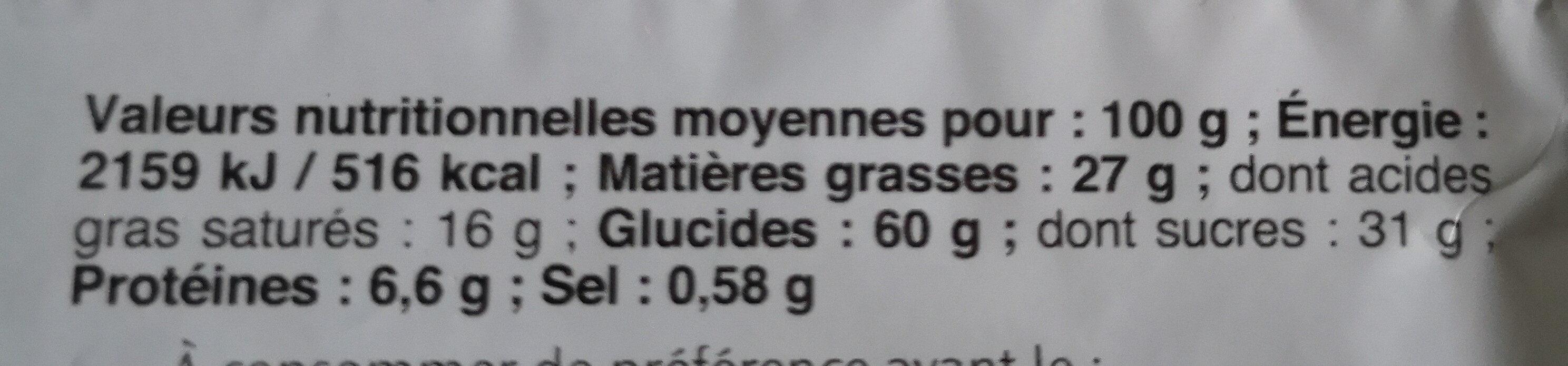 Cookie chocolat noisettes - Voedingswaarden - fr