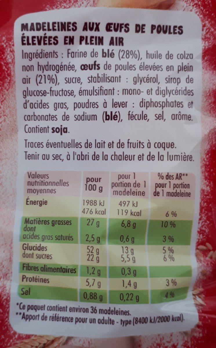 Madeleines moelleuses par 36 - Ingredients