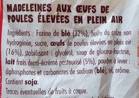 Madeleine - Ingredients - fr