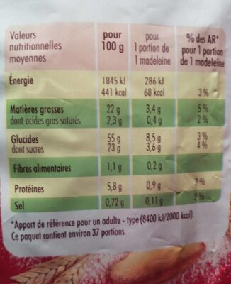 Madeleine - Nutrition facts - fr