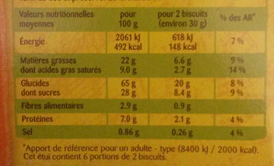 Crousti doonuts nappés chocolat - Nutrition facts