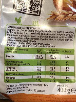 Petites Madeleines au blé complet - Informations nutritionnelles