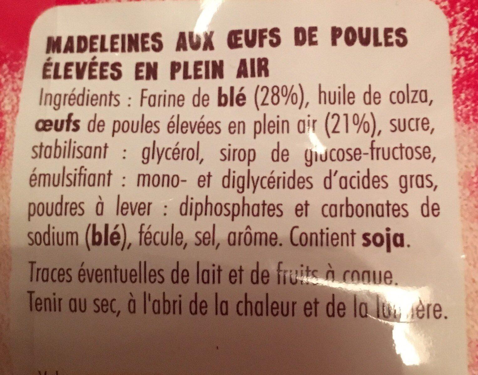 Madeleines - Ingrediënten - fr