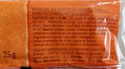 Madeleine Pépites Chocolat - Ingrédients - fr