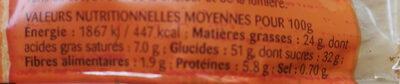 Madeleine Pépites Chocolat - Informations nutritionnelles - fr