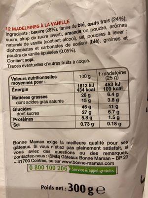 Madeleines vanille - Ingrédients - fr