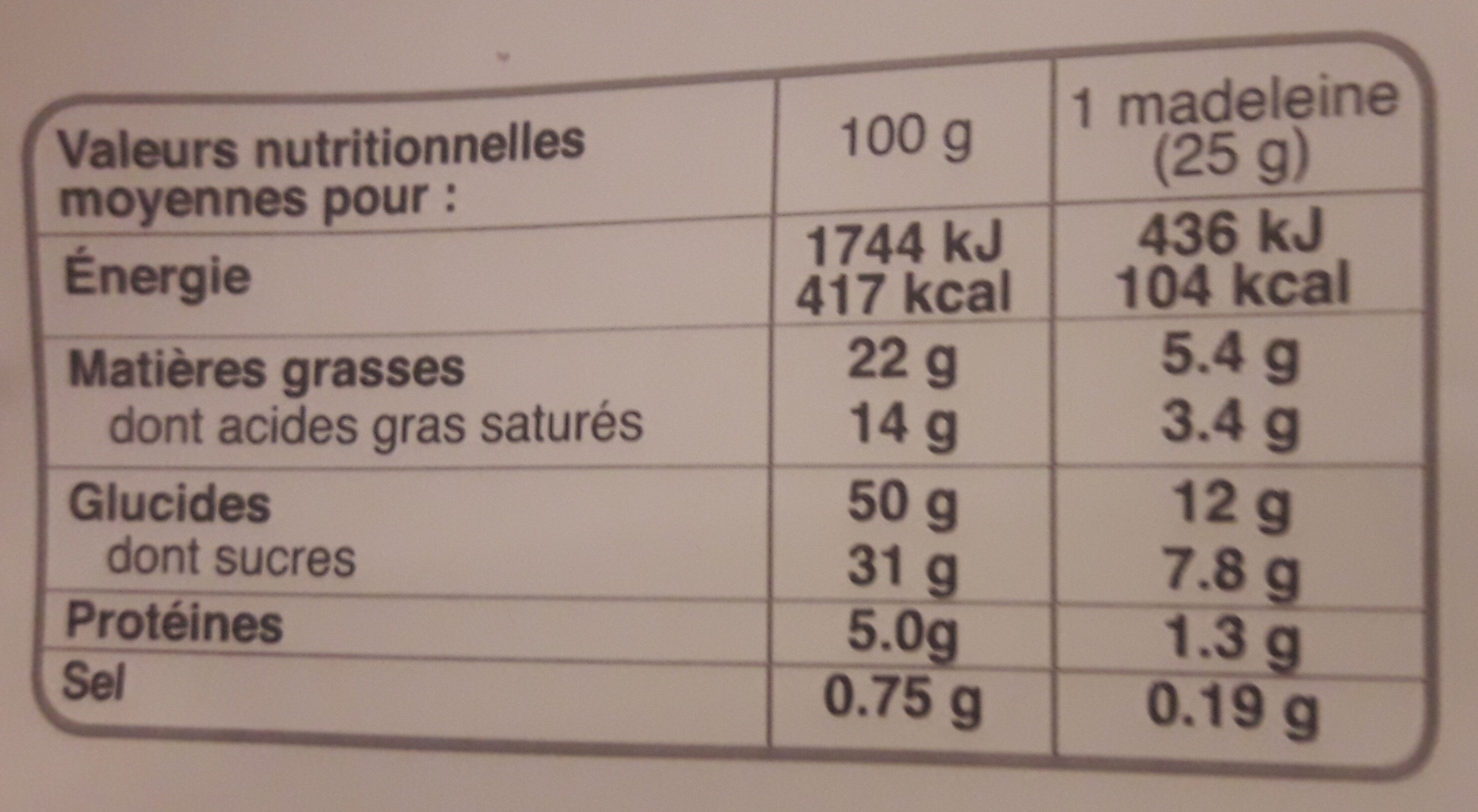 Madeleine - Voedingswaarden