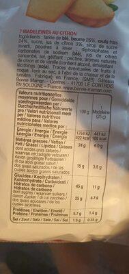 Bonne maman, la madeleine citron - Valori nutrizionali - fr