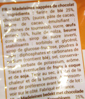 Madeleine nappées chocolat - Ingredients