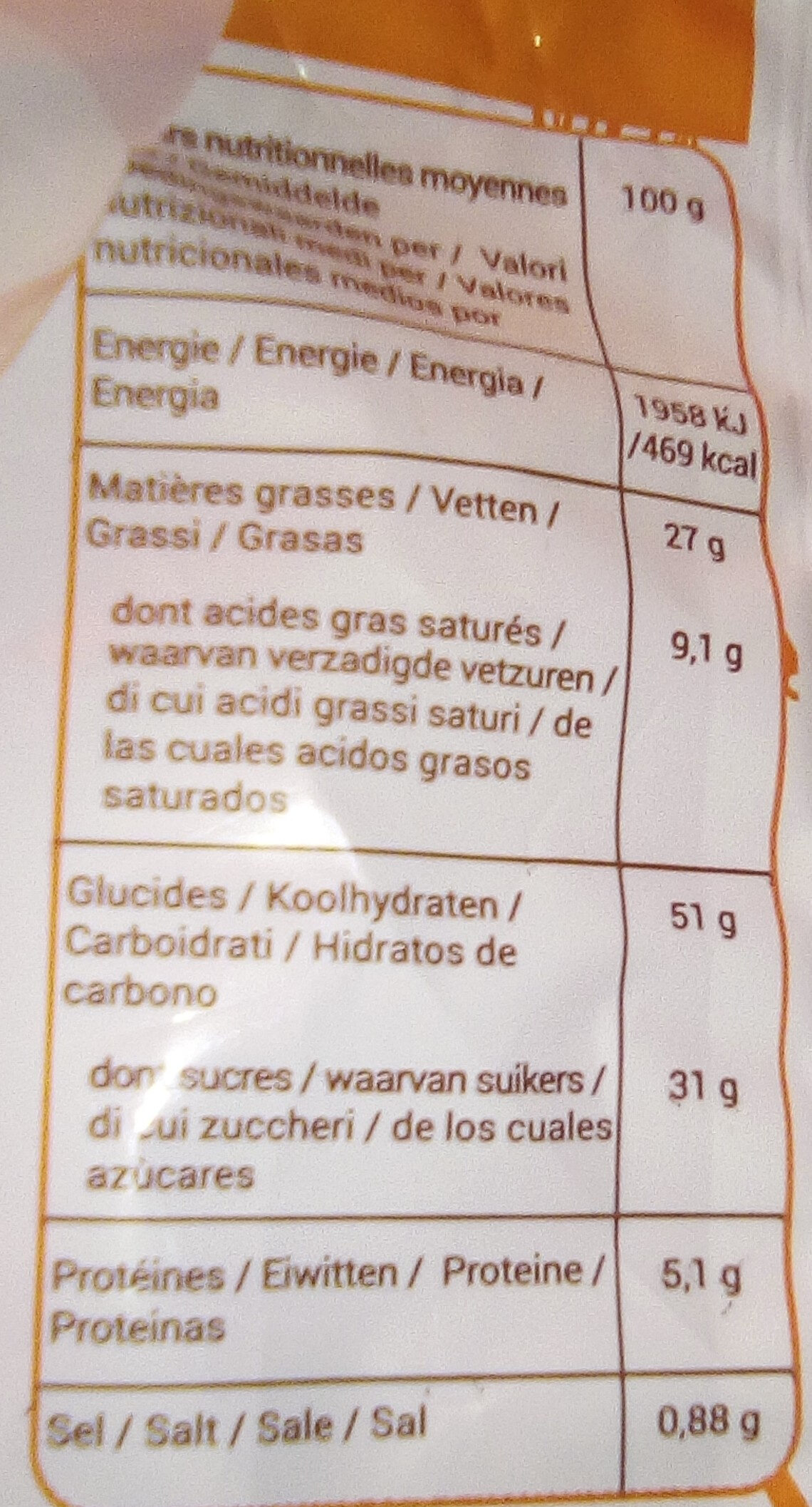 Madeleine nappées chocolat - Nutrition facts