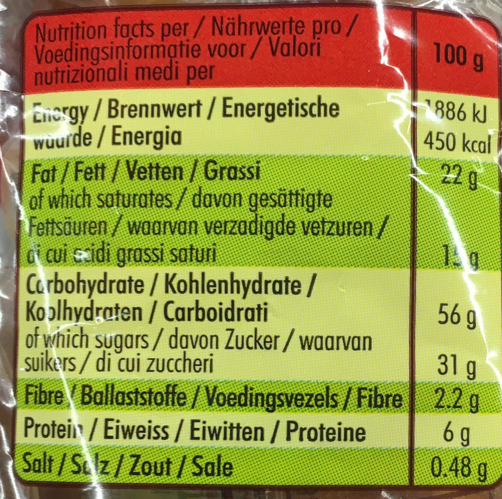 Madeleine recette de commercy pur beurre - Valori nutrizionali - fr