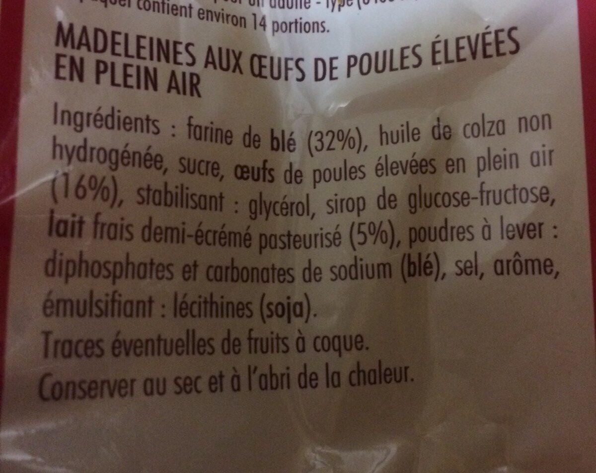 Madeleines - Ingrédients