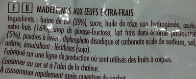 Madeleines  St Michel - Ingredients