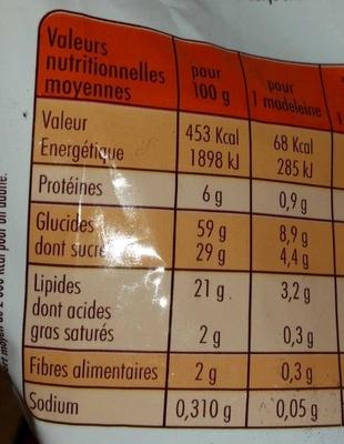 Madeleines  St Michel - Nutrition facts