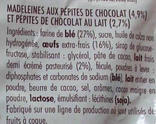 Madeleines pépites chocolat - Ingrédients - fr