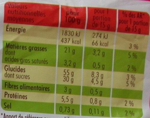 Madeleines pépites chocolat - Informations nutritionnelles - fr