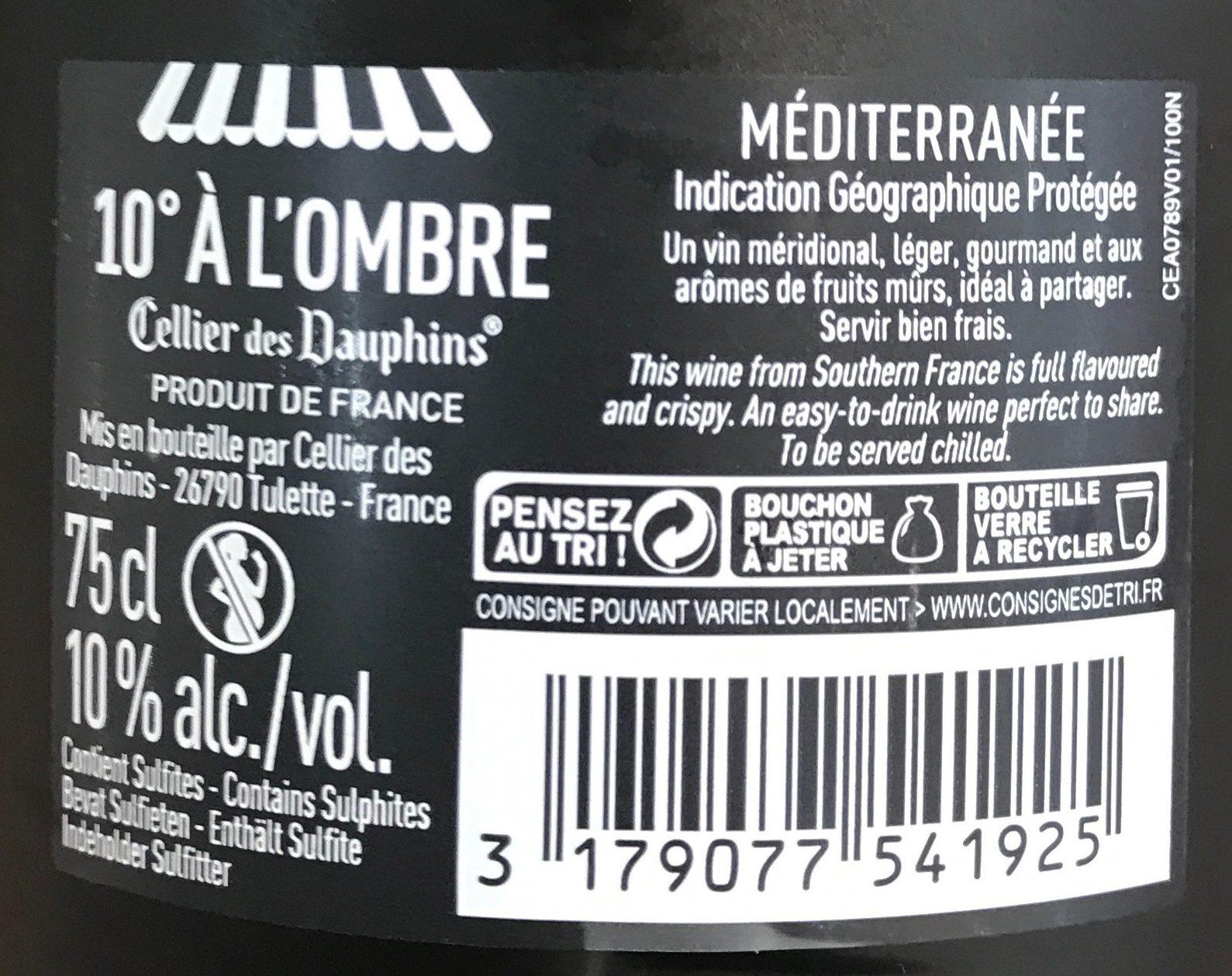 10° à l'Ombre - Ingredients - fr