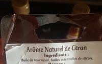 Arôme naturel de citron - Informations nutritionnelles