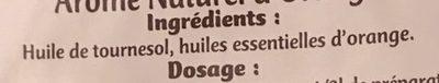 Arôme Naturel D'orange, 20 Millilitres, Marque Vahiné - Ingredients - fr