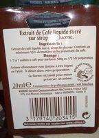Extrait de café liquide - Ingrédients