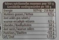 Gousses de vanille en poudre sucrées - Voedingswaarden