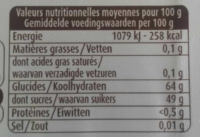 Gousses de vanille en poudre sucrées - Nutrition facts - fr
